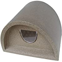 Plastic Cat House / Igloo With Cat Flap and Vet Bedding - Light Brown