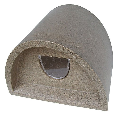Plastic Cat House / Igloo With Cat Flap - Light Brown