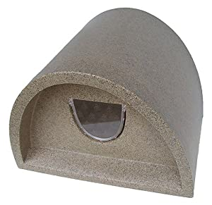 plastic cat house igloo with cat flap light brown. Black Bedroom Furniture Sets. Home Design Ideas