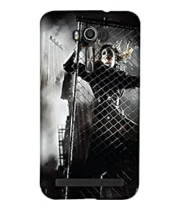 PrintHaat 3D Hard Polycarbonate Designer Back Case Cover for Asus Zenfone 2 Laser ZE601KL (6 Inches) (girl behind the bars in boots :: beautiful witch :: in black and white)