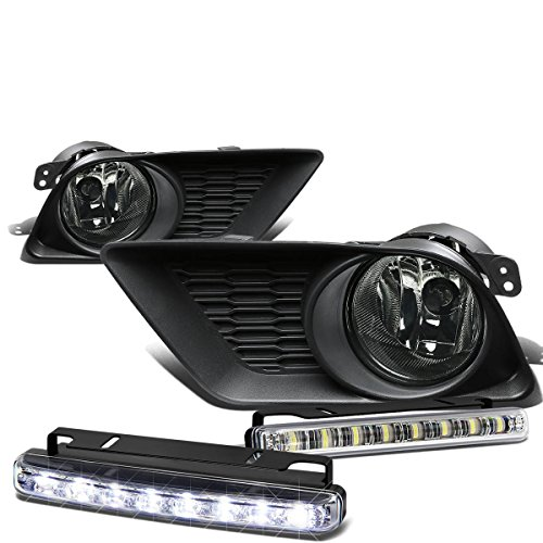 Dodge Charger Pair of Smoke Lens Bumper Fog Lamp+Bulbs+Switch+DRL 8 LED Day Time Running Light (2014 Dodge Charger Halo Lights compare prices)