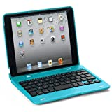 FlyStone® Apple iPad Mini Keyboard / iPad Mini Retina Rotating Angle Wireless Bluetooth Keyboard Case Cover Stand Combo Up to 135 Degrees. Folio Style with IOS Commands. Compatible: the First Gen iPad Mini and the iPad Mini 2 Retina. (iPad mini, Blue) image