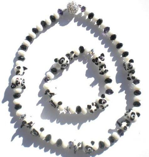 Animal Lover Beautiful Hand Made Ceramics Cartoon Panda Necklace and Bracelet Set