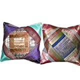 2 Dark-Blue Green Cream Zardozi Vintage Silk Sari Toss Pillow Cushion Coversby Mogulinterior