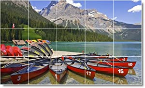 Boat Ship Picture Bathroom Tile Mural B004. 36x60 Inches Using (15) 12x12 ceramic tiles.