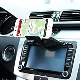 Car Mount,SGRICE Universal CD Slot Car Mount phone Holder Cradle iPhone 6S/6+/5,Samsung Galaxy S7 S6 S5 S4 S3 Note 2 Note 3 More,with Just A Push, 360 Degree Rotation
