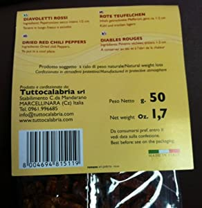 TUTTO CALABRIA Diavoletti Rossi - Red Hot Chilli Peppers 1.7 oz MADE IN ITALY