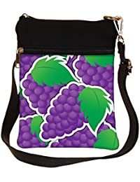 Snoogg Purple Grape Sticker Background Card In Vector Format Cross Body Tote Bag / Shoulder Sling Carry Bag