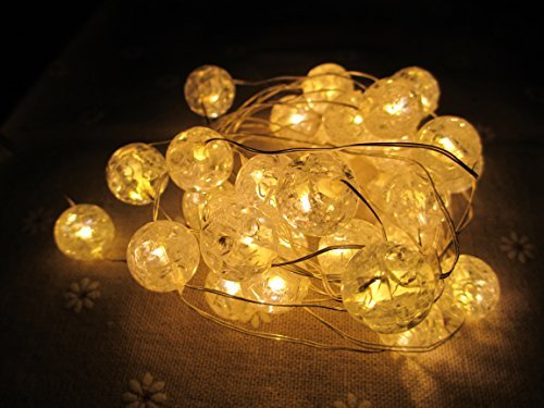 M&T Tech 30 Led Christmas String Fairy Lights Battery Operated For Xmas, Party, Indoor, Kid'S Bedroom, Wedding-Warm White Glass Ball