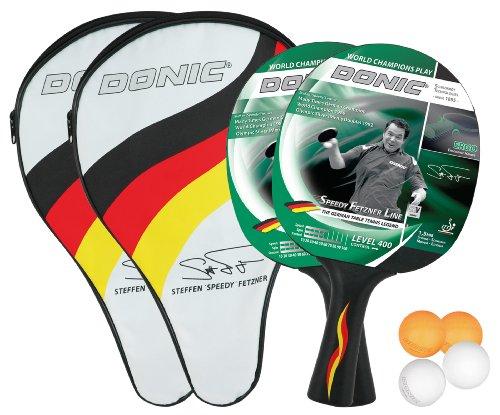 Donic-Schildkröt Tischtennis-Set SPEEDY Fetzner 400 Cover, schwarz-rot-grün, 35,0 x 21,5 x 5,0 cm