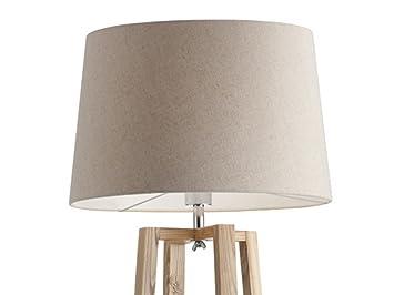 Brandani lampada terra piantana square paralume bianco legno