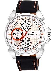 Swisstone FTREK045-WHT-BLK White Dial Black Strap Sporty Analog Wrist Watch For Men