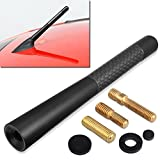 "GTP Aluminum Black 4.7"" Short Carbon Fiber Vehicle Car AM/FM Radio Antenna Universal Replacement"