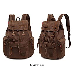 Cai-Retro Canvas Laptop Backpack Unisex Vintage Cool Rucksuck school college shoulder bag Fashion Travel casual duffelbag 10 Colors Cr13 (Coffee)