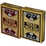 COPAG TEXAS HOLD'EM JUMBO INDEX PLAYING CARDS 2 DECK SET, 1 RED & 1 BLACK