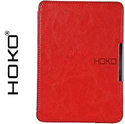 Kindle Paperwhite Case, HOKO Red Slim Leather Flip Case Cover with magnetic closure for Kindle Paperwhite (Auto wake and sleep)