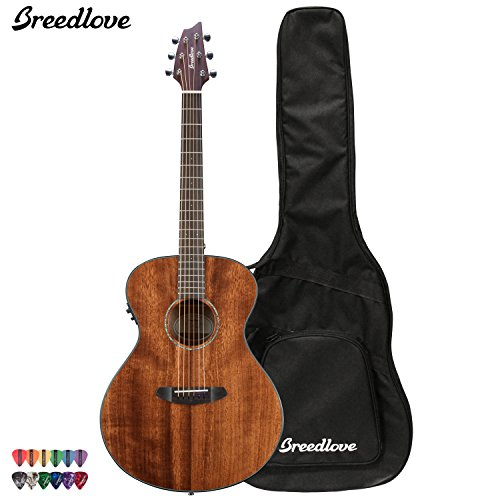 Breedlove Pursuit Concert Mahogany Acoustic Electric Guitar With Chromacast 12 Pick Sampler And Breedlove Gig Bag