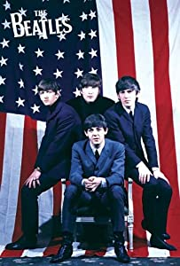 Beatles in front of American flag POSTER 23.5 x 34 Beatlemania 1964 John Lennon Paul McCartney (sent FROM USA in PVC pipe)