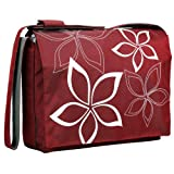 Red and White Star Flowers 15.4 inch Laptop Padded Compartment Shoulder Messenger Bag for K-Cliffs Lifestyle