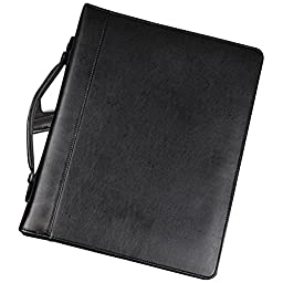 Samsill Regal Leather Padfolio Zipper 1 inch Ring Binder, Carry Handle, Interior 10.1 Inch Tablet Sleeve, Letter Size Writing Pad, Black