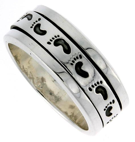 Sterling Silver Men s Spinner Ring Footprints Pattern Handmade 3 8 inch wideB0006GC50G : image