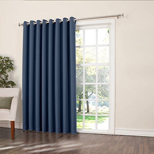 Sun Zero Barrow Extra Wide Energy Efficient Grommet Patio Door Curtain ...