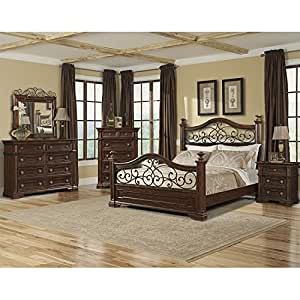 San marcos panel bedroom set queen bedroom for Bedroom furniture amazon