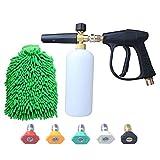 DUSICHIN DUS-006 3000 PSI High Pressure Washer Gun, M22 Thread, Snow Foam Lance, Snow Foam Cannon with Glove, 5 nozzle tips