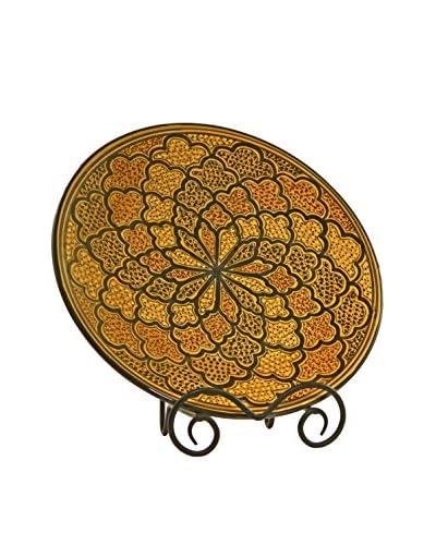 Le Souk Ceramique Honey Round Platter, Honey/Brown