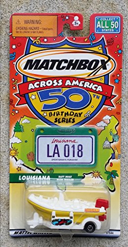 Matchbox Across America 50th Birthday Series Louisiana Raft Boat with Trailer - 1