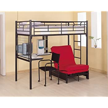 Coaster Fine Furniture 2209 Metal Bunk Bed with Futon/Desk/Chair and CD Rack, Black Finish