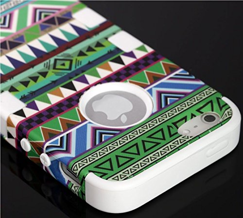 Mylife (Tm) White - Colorful Tribal Print Series (Neo Hypergrip Flex Gel) 3 Piece Case For Iphone 5/5S (5G) 5Th Generation Itouch Smartphone By Apple (External 2 Piece Fitted On Hard Rubberized Plates + Internal Soft Silicone Easy Grip Bumper Gel)