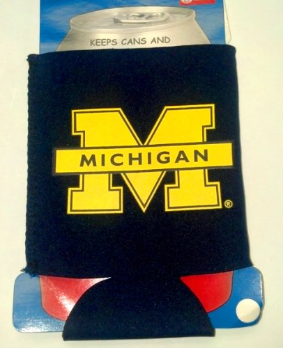 Michigan Wolverines CAN KOOZIE drink cooler Great Gift GO BLUE