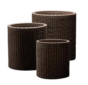 keter round plastic rattan resin garden flower plant planters decor pots 3 pc. Black Bedroom Furniture Sets. Home Design Ideas