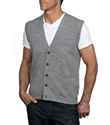 Wool Overs Men's Lambswool V Neck Button Sweater Vest