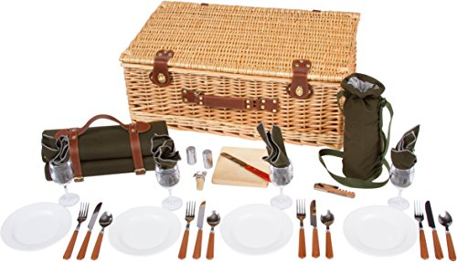 Great Features Of Deluxe Wicker Suitcase Style Picnic Basket with Insulated Compartment by Trademark...