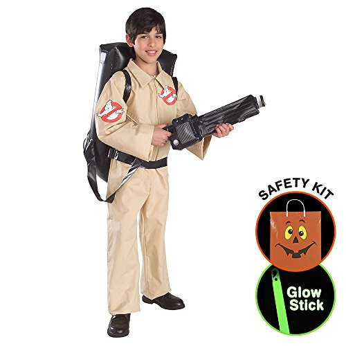 [Boys Ghostbusters Costume Halloween Trick or Treat Safety Kit Large] (Ghostbusters Womens Costume)