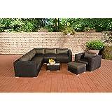 CLP Poly Rattan Gartenmöbel Lounge-Set ARIANO schwarz, aus 5 mm Rund-Rattan, Aluminiumgestell (5er Sofa + Sessel + Hocker + Tisch + 10 cm dicke Polster + Kissen) schwarz, Bezugfarbe anthrazit