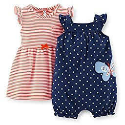 Carter\'s 2 Piece Dress & Romper Set (Baby) - Navy-24 Months