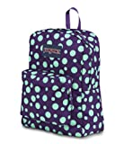 JanSport Unisex Classic Superbreak Backpack T501 (Purple Night / Mint to be Green Sylvia Dot)