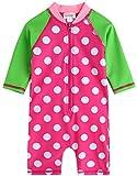 [Vaenait Baby] 0-24ヶ月紫外線カット ラッシュガードベービー子供女の子長袖ワンピース水着 Baby Cream Dot Pink S