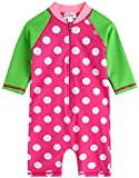 [Vaenait Baby] 0-24ヶ月紫外線カット ラッシュガードベービー子供女の子長袖ワンピース水着 Baby Cream Dot Pink S ランキングお取り寄せ