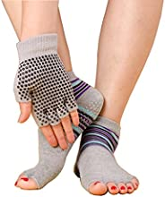 Jiexing Toeless Yoga Socks and Gloves Set Non Slip Grip with Silicone Dots-Black Pink White