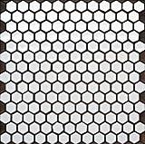 ヘキサゴン(六角)モザイク 610B   白いタイルシリーズ