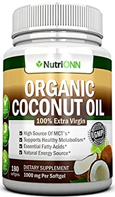 ORGANIC COCONUT OIL Capsules - 180 Softgels - 4000 MG Daily - Cold-Pressed Extra Virgin Coconut Oil - Great For Hair, Skin And Acne - Promotes Healthy Metabolism and Natural Weight Loss - Raw and Unrefined - Best Premium Coconut Oil On The Market!