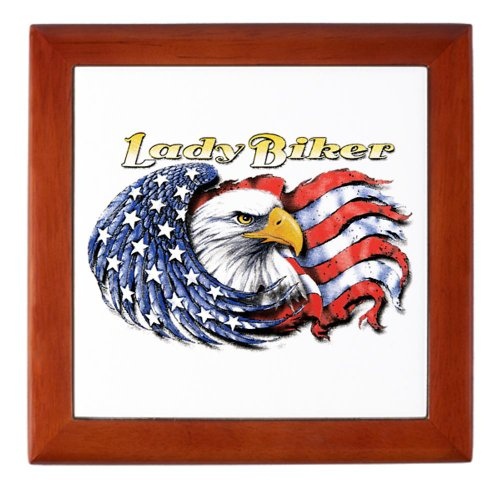 Keepsake Box Mahogany Lady Biker with United States US Flag and Eagle