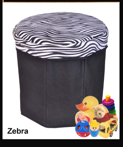 Collapsible Storage Ottoman, Round Shape (Zebra Pattern)
