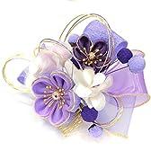 花髪飾り 簪【つまみ梅リボン パープル 藤紫×金 水引 15216】かんざし