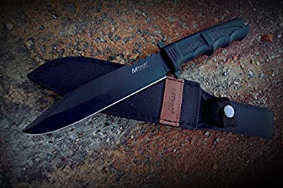 MTech USA MT-086 Series Fixed Blade Hunting Knife, Straight Edge Blade, Black Handle, 12-1/4-Inch Overall