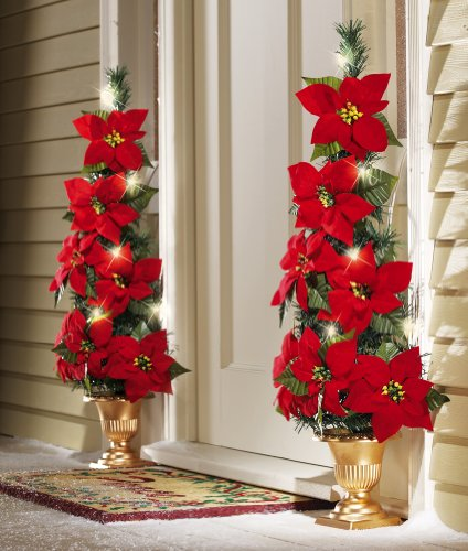 Collections Etc - Lighted Flat Back Poinsettia Tree Decoration